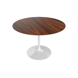 Saarinen Round Dining Table 42'', Rosewood - White.Rosewood