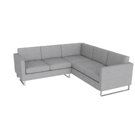 Goodland Small Sectional Stainless Legs, Basket Weave Silver