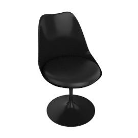 Saarinen Tulip Armless Chair - Volo Leather - Black.Black