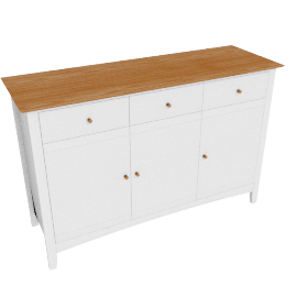 Alba Wide Sideboard, Soft Grey/Oak