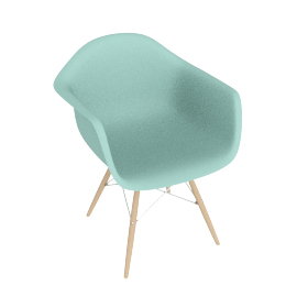 Eames Molded Plastic Dowel-Leg Armchair (DAW), Aqua Sky with Chrome Base and Maple Leg