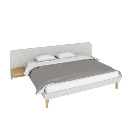 Parallel Wide King Bed, Maharam Mode Shell w/ oak legs