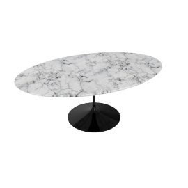 Saarinen Low Oval Coffee Table - Coated Marble 1 - Blk.Arabescato