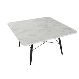 Eames Square Coffee Table, Carrara Top, Ebony Dowel, Black Wire