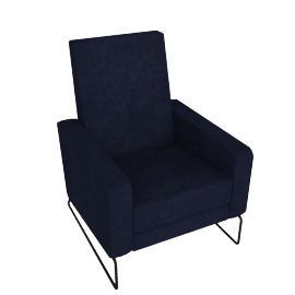 Flight Recliner, Lama Tweed Fabric, Indigo w/ Black Base