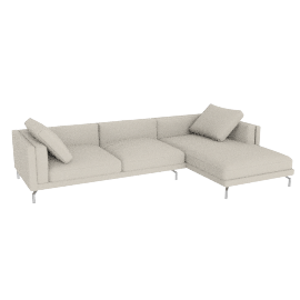 Como Sectional Right Chaise, Kalahari Leather - Latte