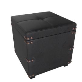 Jasper Ottoman S 34.5x34.5x34cm, Black