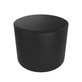 Gemini Round Pouffe, Black