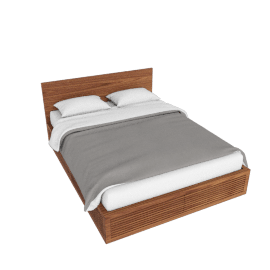 Line Storage Queen Bed, Walnut
