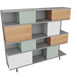 Fowler large shelving unit, multicolo/ash