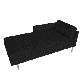 Bolster Right Arm Chaise, Capri Graphite with Brushed Stainless leg