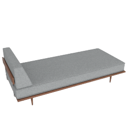 Nelson Daybed with Side Bolster, Noble Fabric:Walnut.Heathered Grey
