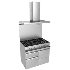 Westahl WG1052GECTSSAPK1 Dual Fuel Cooker, Hood and Splashback Package, Stainless Steel
