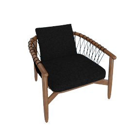 Crosshatch Chair, Walnut Frame, Heathered Black Upholstery