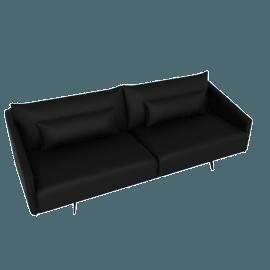 Costura Sofa, Elmo Baltique Leather - Black