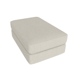 Reid Ottoman in Fabric, Ivory