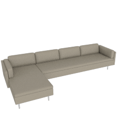Bolster Sectional Chaise Left Facing, MCL Leather - Stone