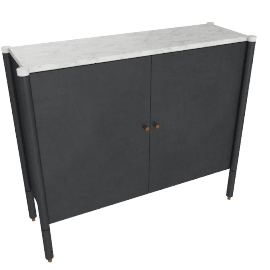 Morrison Console, Ebonized Black with Carrara