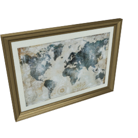 Indigo Map Framed Picture - 95.5x3.8x70.5 cms
