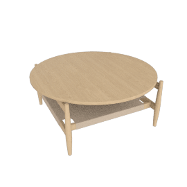 Risom Round Coffee Table, Oak/Natural
