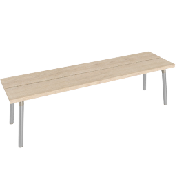 Run 3-Seat Bench, Ash Top Aluminum Legs