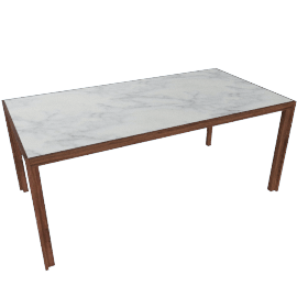 Doubleframe Table 70 x 36, Carrara/Walnut