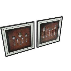 Cutlery Gallery Framed Prints - 60x3x60 cms