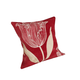 Tulipa Velvet Cushion, Claret