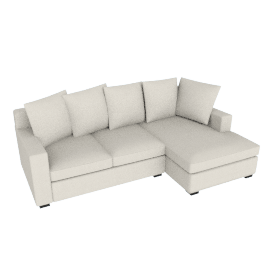 Muse Sectional Chaise Rt. (Fabric B) - Natural