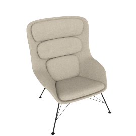 Striad Chair, High Back with Wire base, Tonus Oatmeal/White Shell with Black base