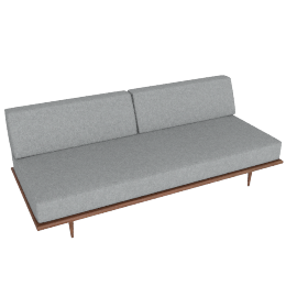 Nelson Daybed with Back Bolster, Noble Fabric:Walnut.Heathered Grey
