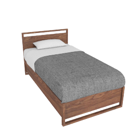Matera Bed With Storage - Twin - Walnut