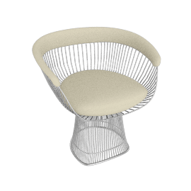 Platner Armchair, Nickel frame and Knoll Boucle - Pearl