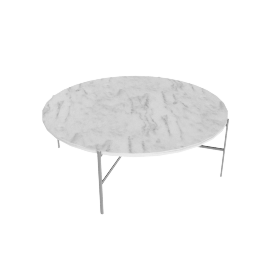 Outline Round Coffee Table, Stainless Steel Base Carrara Top