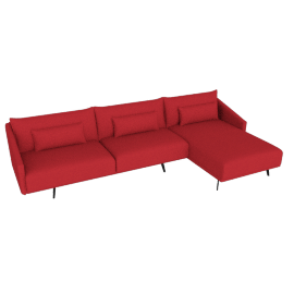 Costura Sectional with Chaise, Boucle, Poppy