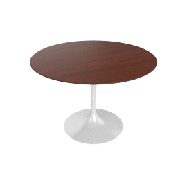 Saarinen Round Dining Table 42'', Veneer - White.Drkwalnt