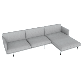 Outline Sectional with Right Facing Chaise, Soft Weave Smoke