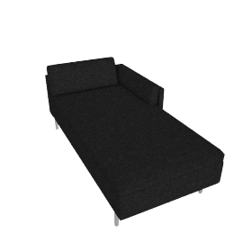 Bolster Left Arm Chaise, Capri Graphite with Brushed Stainless leg