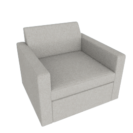 Bevel Club Chair, Noble Fabric Heathered Grey with Ebony Leg