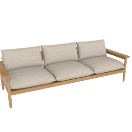 Terassi Three-Seater Sofa, Papyrus