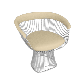 Platner Armchair, Nickel frame and Volo Leather - Ivory