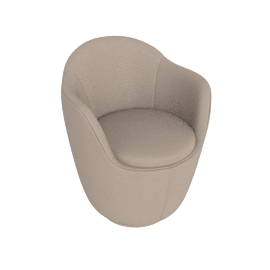 Lina Swivel Dining Arm Chair, Leather - Grey