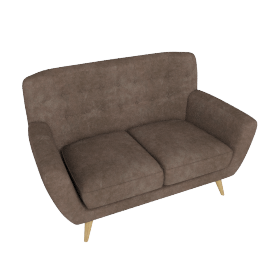 Retro Vibe 2 Seater, Dark Brown