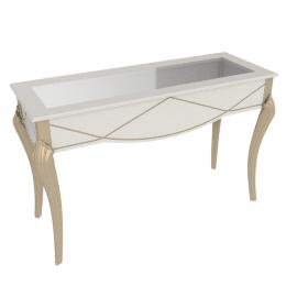 Sicilia Console With Mirror, Pearl White/Champagne