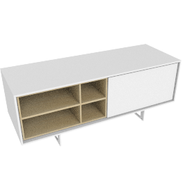 Aura Small Media Unit, Oak/White