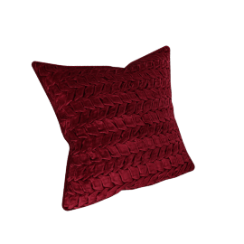 Velvet smocked Filled Cushion - 45x45 cms, Red
