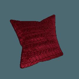 Velvet smocked Filled Cushion - 45x45 cms, Red