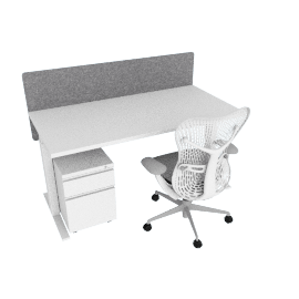 Ergonomic Standard Bundle, White Frame, Heathered Grey Screen