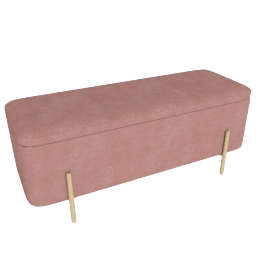 Asare Storage Ottoman, Brass/Blush Pink