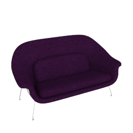 Womb Settee, Boucle Black Iris with Chrome Leg